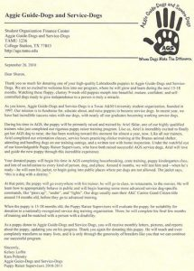 Aggie Guide Dog Letter